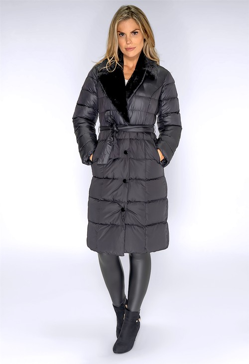 ICON Black Quilted Long Coat