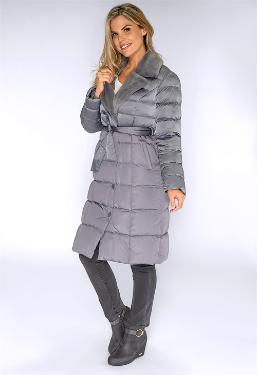 ICON Holographic Grey Coat with Faux Fur Lapel