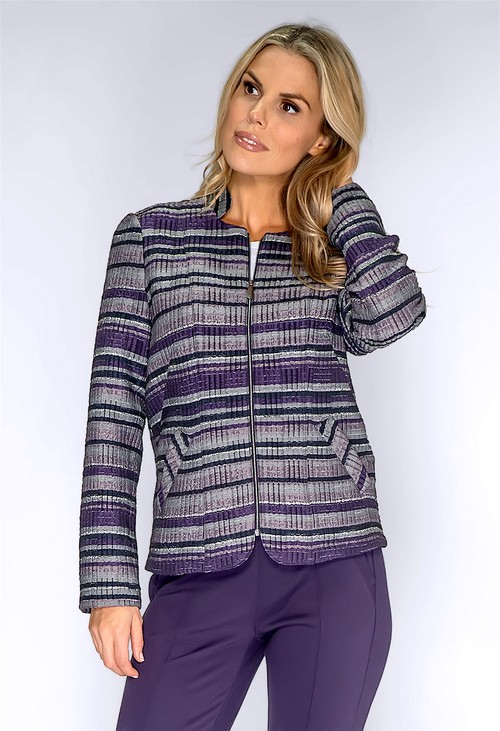 Frank Walder Purple and Silver Zip Up Jacket