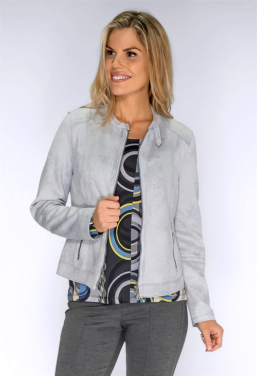 Bianca Silver Faux Suede Jacket