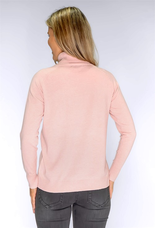 YOU YOU Soft Pink Knit Polo Neck