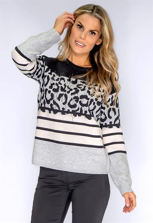 Betty Barclay Grey Leopard Panelled Knit Jumper