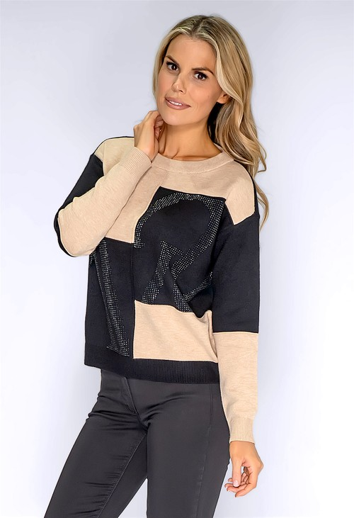 Betty Barclay Black and Beige Block Jumper