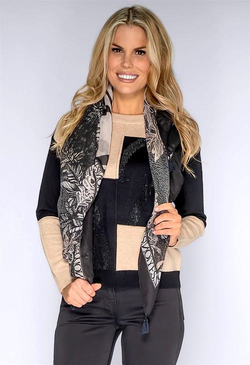 Betty Barclay Black and Stone Print Scarf