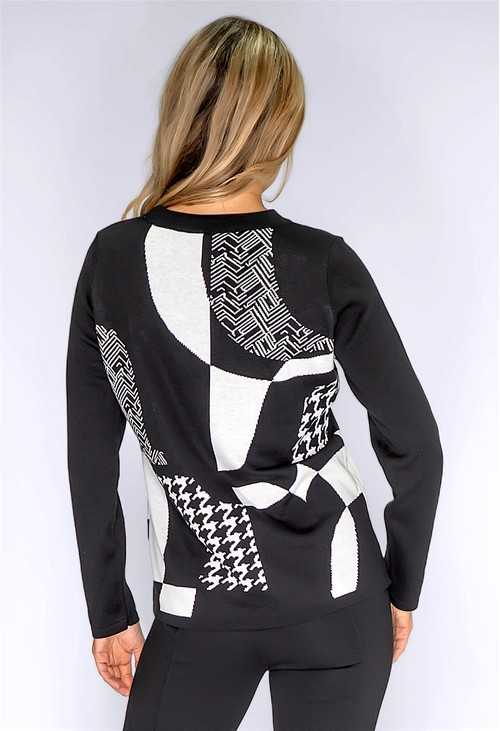 Betty Barclay Black Knit Jumper with Mixed White Print