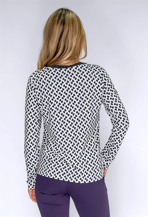 Frank Walder White Top with Geometric Print