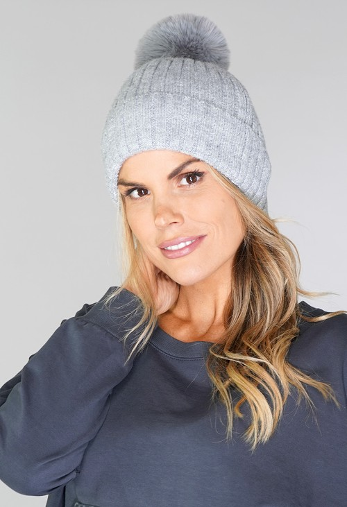 Pamela Scott Grey Bobble Hat
