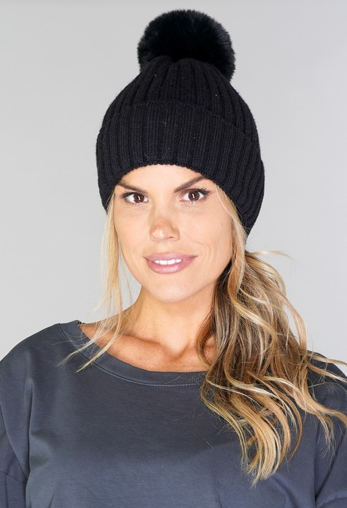 PS Accessories Black Bobble Hat