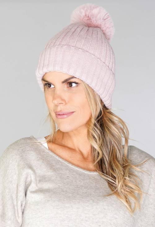 Pamela Scott Pink Bobble Hat