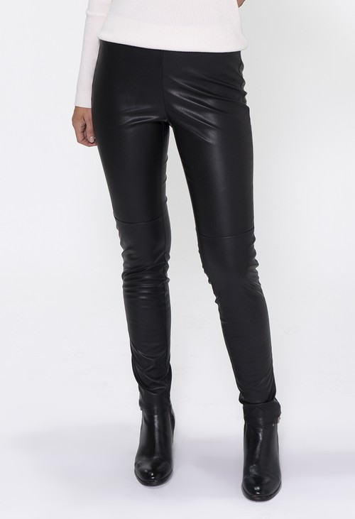 Zapara Black Straight Leg Leather Leggings