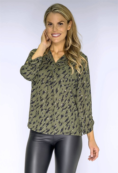 Zapara Khaki and Gold Printed Blouse