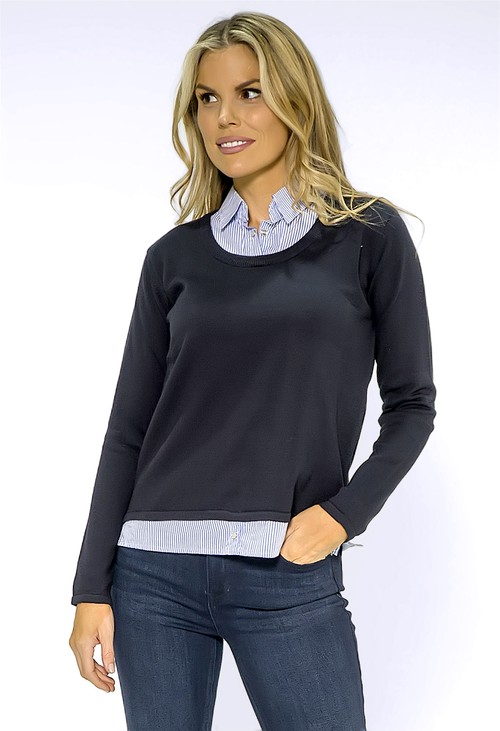 Twist Navy Jumper with Shirt Details
