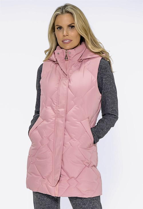 Pamela Scott Dusty Pink Hooded Gilet