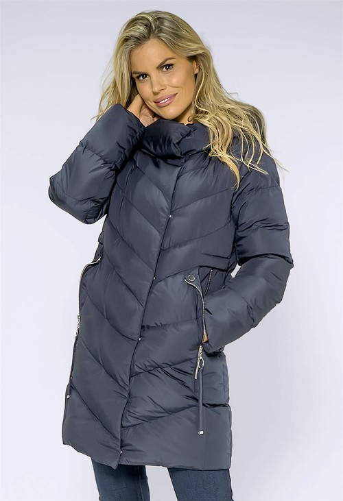 ICON Navy Hooded Puff Coat with Silver Lining