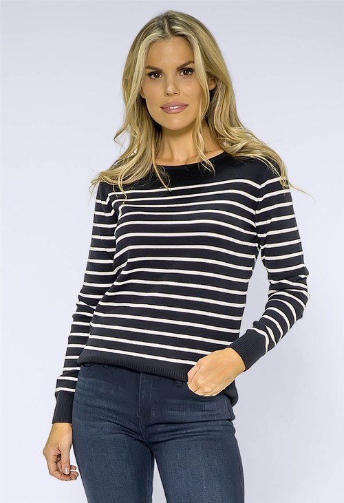 Twist Navy Striped Pullover