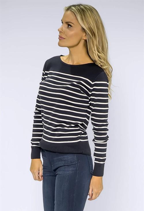 Twist Navy Striped Pullover