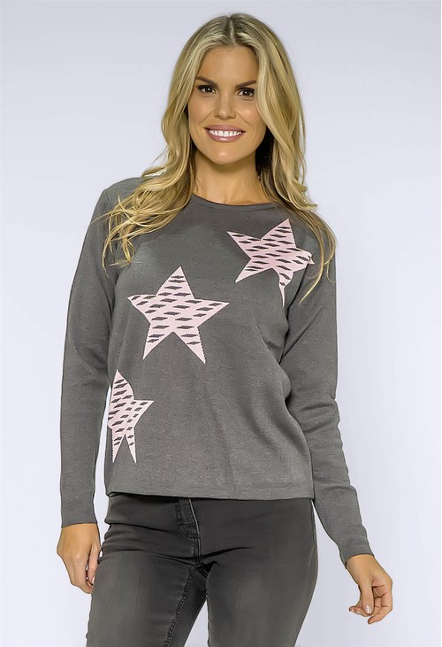 Twist Grey Knit with Pink Star Design