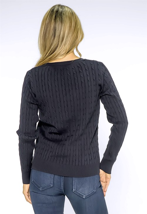 Twist Navy Cable Knit Jumper