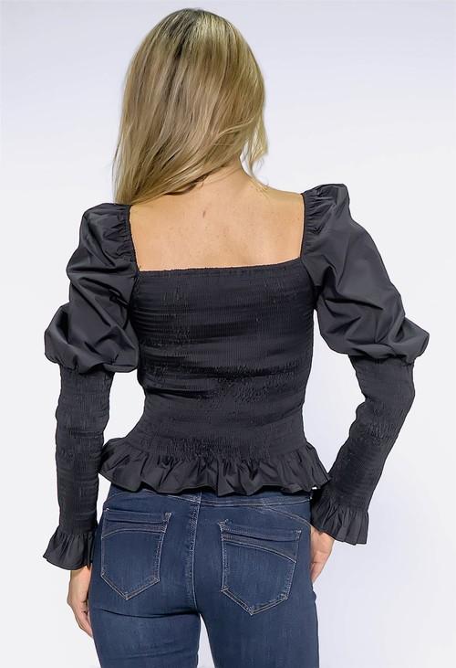 Pamela Scott Black Puff Shoulder Smocking Top