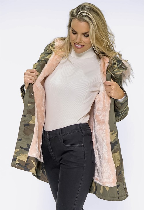 Pamela Scott Camo Coat with Pink Faux Fur