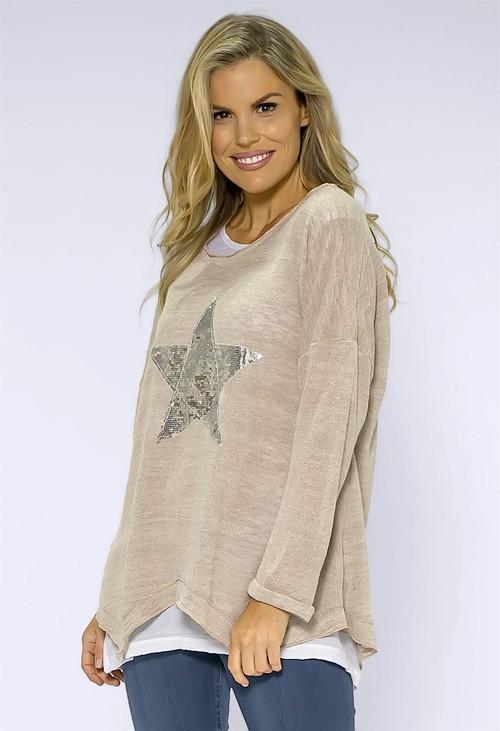 Pamela Scott Beige Star Detail Double Layer Top