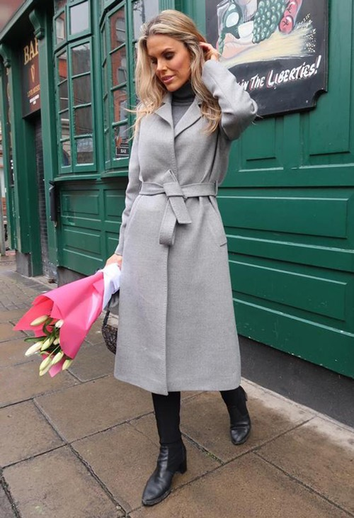 ICON Long Light Grey Coat with Silk Lining