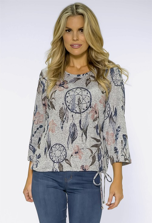 Twist Light Grey Knit with Dreamcatcher Print