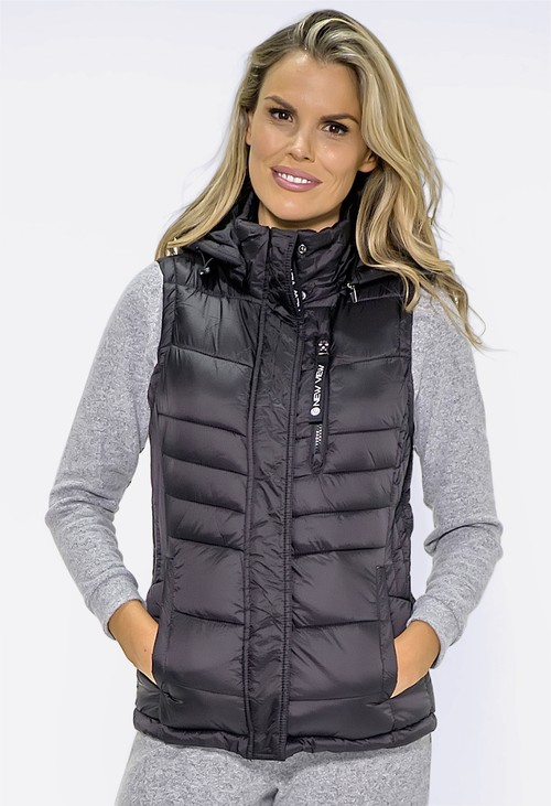 Pamela Scott Black Quilted Hooded Gilet