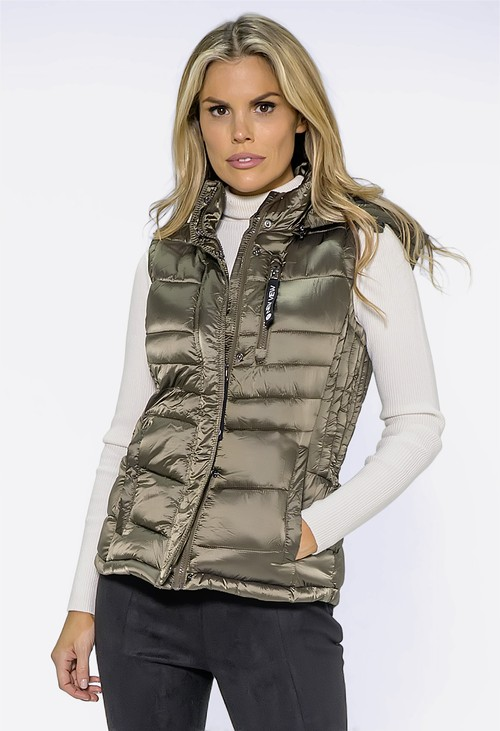 Pamela Scott Khaki Quilted Hooded Gilet
