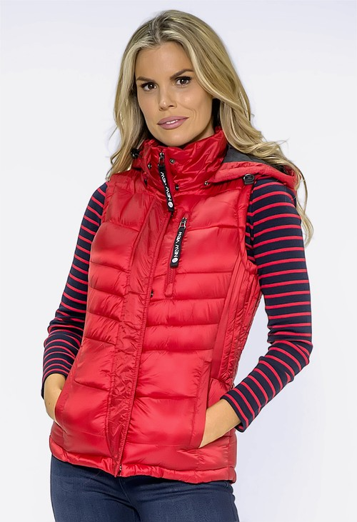 Pamela Scott Red Quilted Hooded Gilet