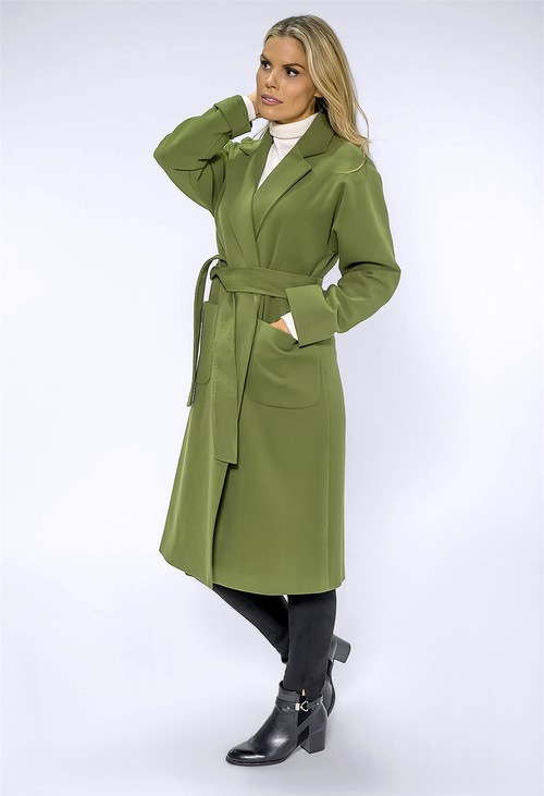 ICON Long Green Coat with Silk Feel Lining