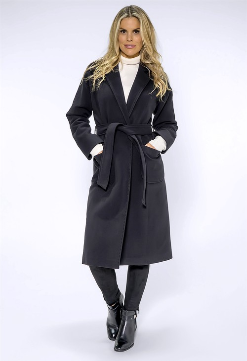 ICON Long Black Coat with Silk Feel Lining