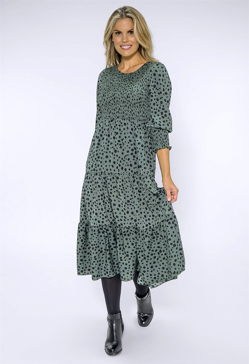 Pamela Scott Green Spotted Print Midi Dress
