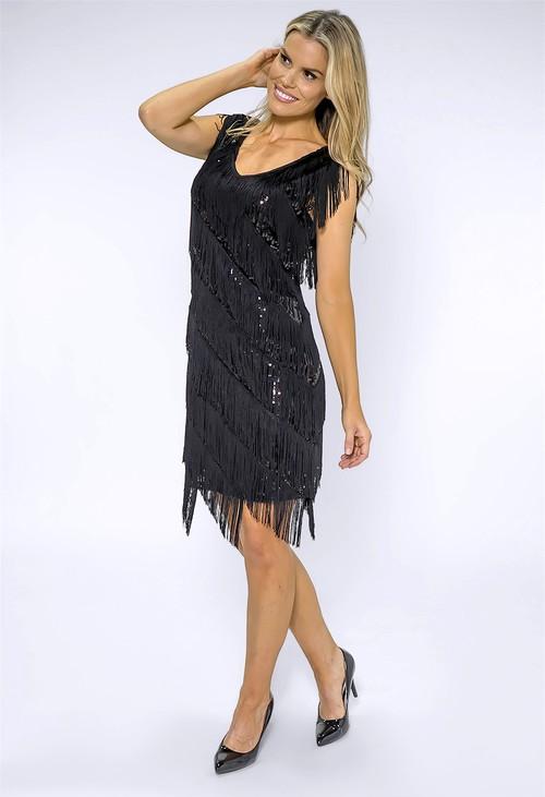 Pamela Scott Black Tasseled Sequin Dress