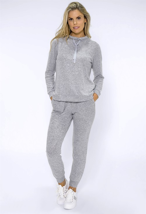 Twist Grey Knit Jumper with Diamante Detail