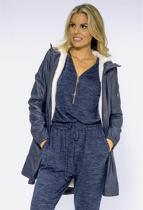 Pamela Scott Navy Hooded Raincoat With White Cosy Lining