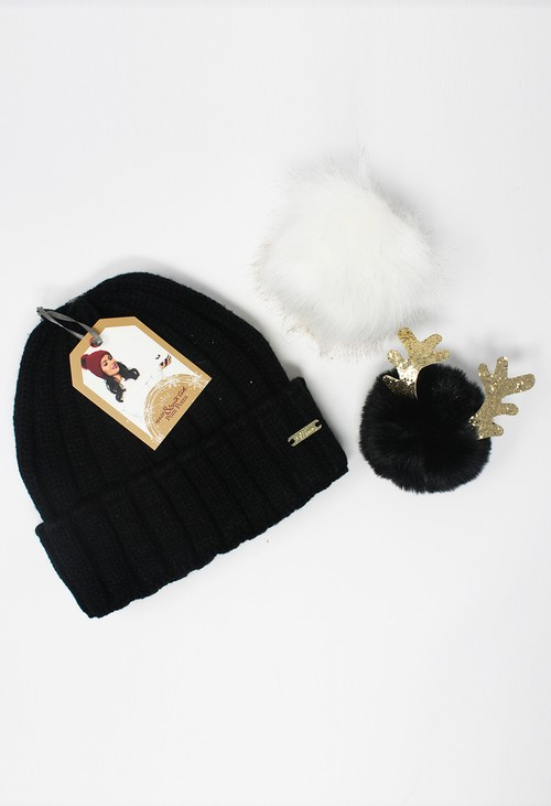 Something Special Black Mix and Match Pompom Hat