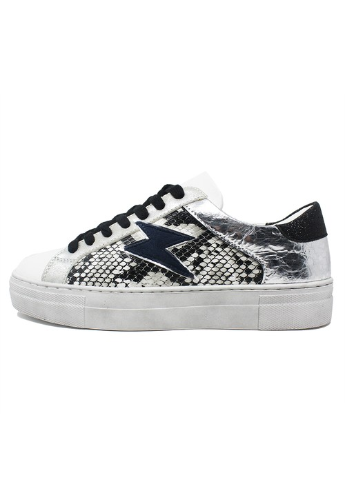 Shoe Lounge Cream Trainers with Snakeskin Quarter Panel