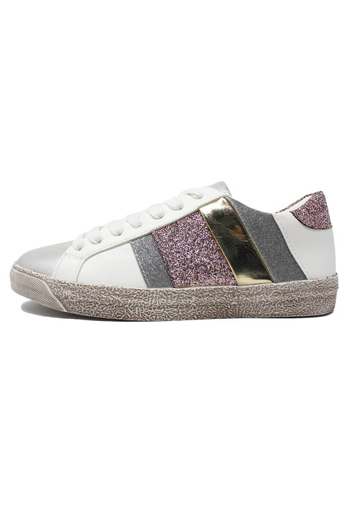 Shoe Lounge White Trainers with Pink Glitter Details
