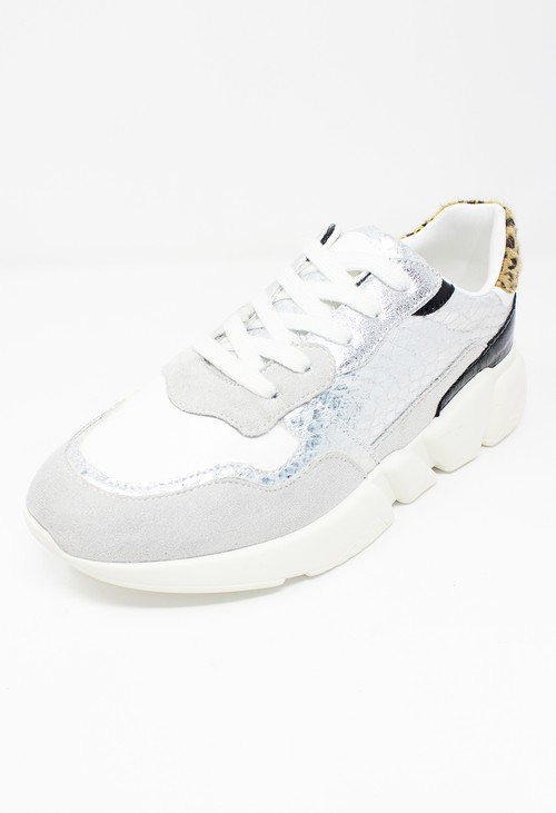 Shoe Lounge Silver Snakeskin Trainer with Chunky Rubber Sole