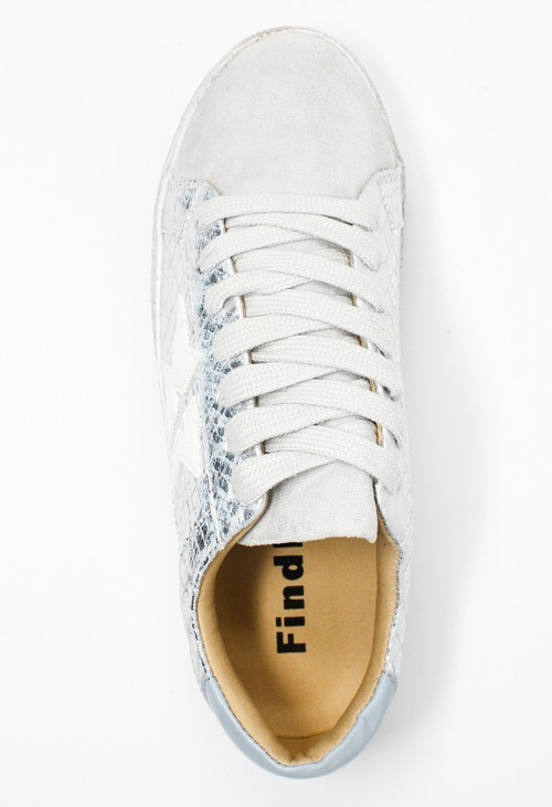 Shoe Lounge Silver Snakeskin Printed Trainer