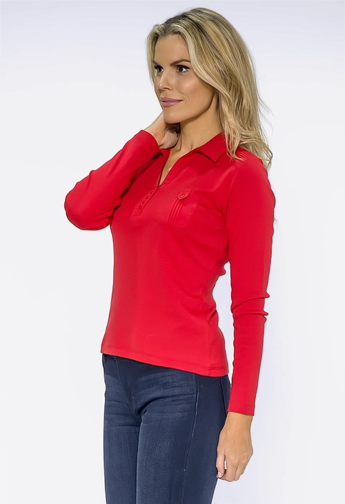 Twist Red Pleated Shoulder Top