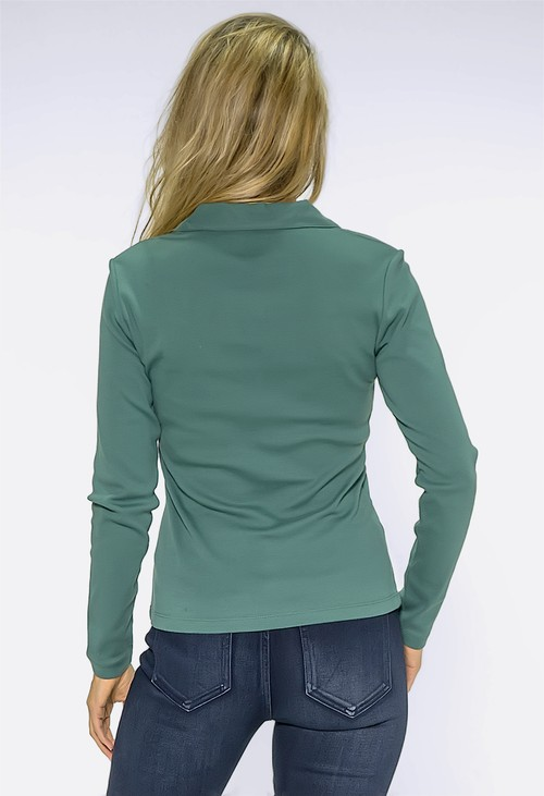 Twist Green Pleated Shoulder Top