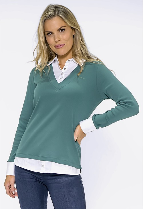 Twist Green Top with Shirt Details