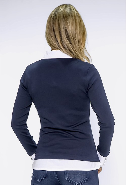 Twist Navy Top with Shirt Details