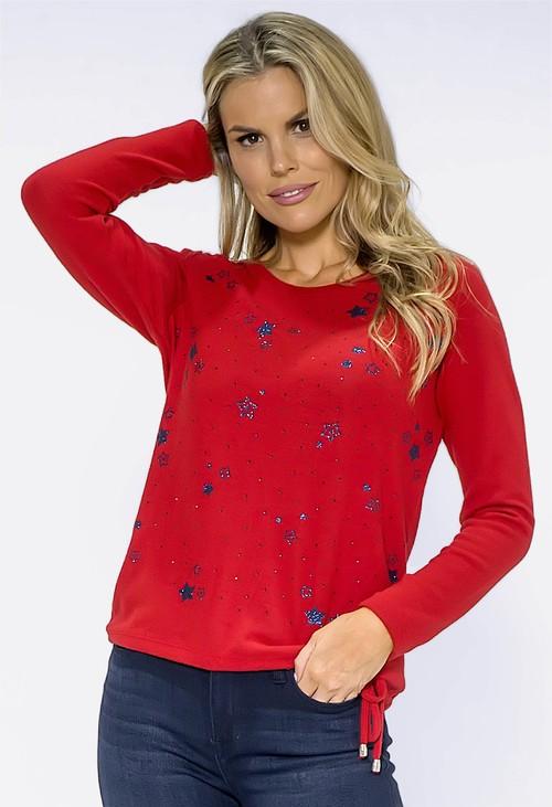 Twist Red Glittered Star Knit Top