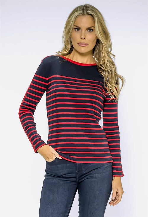 Twist Navy Stripe Top with Button Details