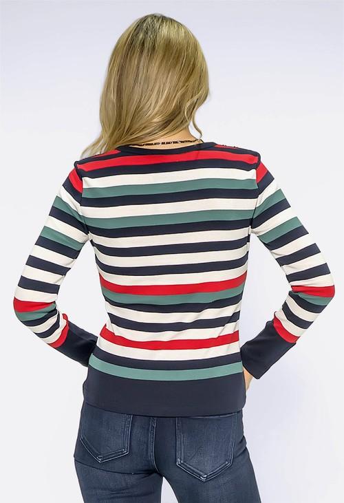 Twist Navy Multi Stripe Top