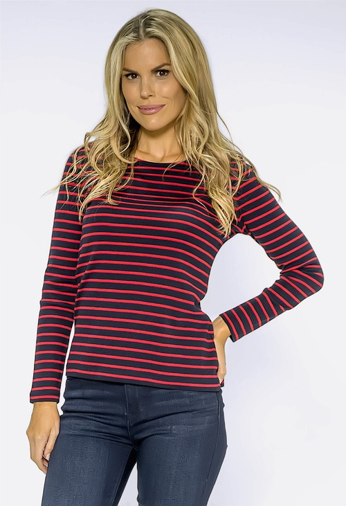 Twist Navy Top with Red Stripes