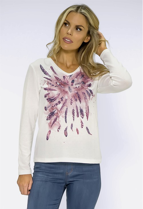 Sophie B Off-White Top with Feather Print